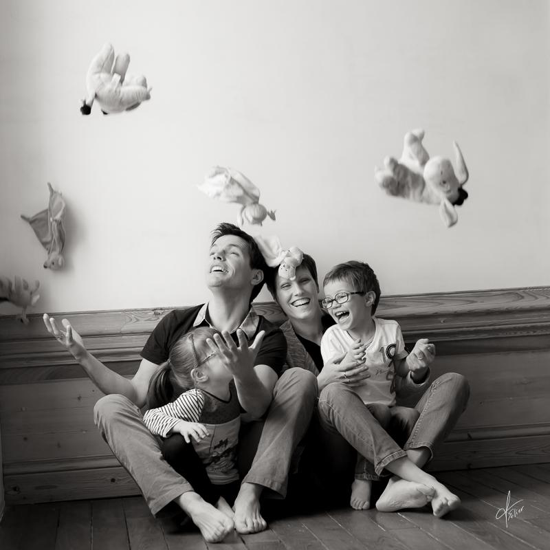 photo de famille en noir et blanc